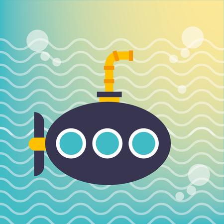 nautical maritime design submarine under ocean bubbles vector illustration