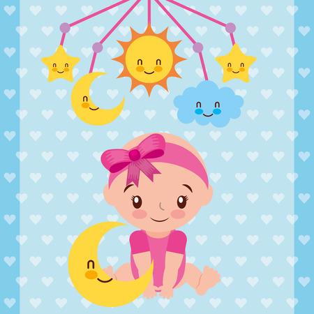cute baby girl sitting with star and crib mobile vector illustration Иллюстрация