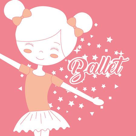 beautiful ballerina dancer ballet pink background vector illustration