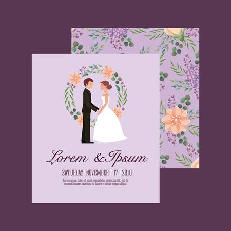 bride and groom holding hands wedding card vector illustration