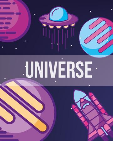 space galaxy cosmic card colors planets rocket taking off explore ufo vector illustration Illusztráció