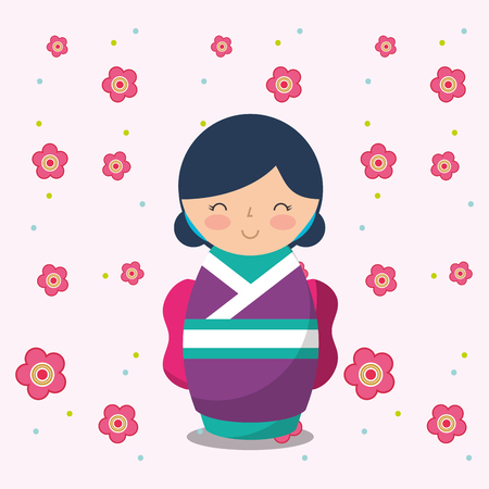 japanese kokeshi doll in kimono vector illustration Vetores