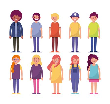 people woman man characters standing smiling group vector illustration