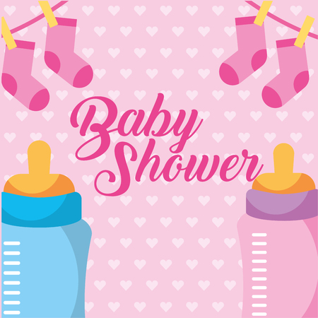 pink and blue feeding bottle and clothes baby vector illustration