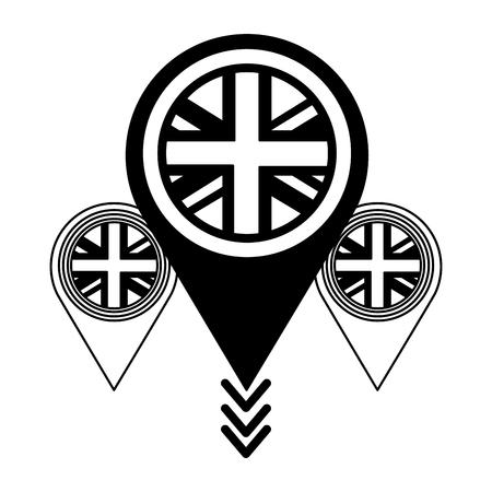 Bandera del Reino Unido en punteros mapa ubicación ilustración vectorial en blanco y negro