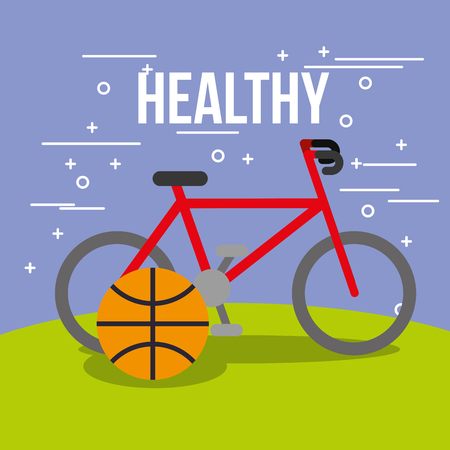 sport bike and basketball ball healthy vector illustration Ilustrace