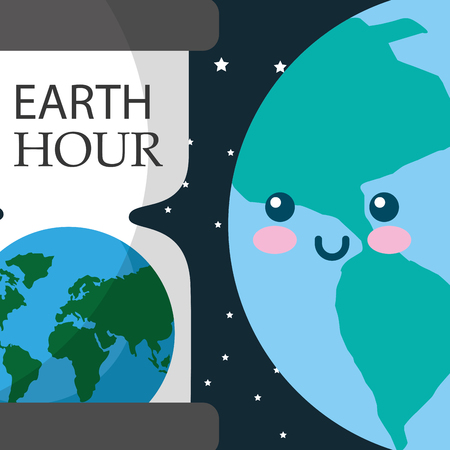 earth hour glass planet world vector illustration