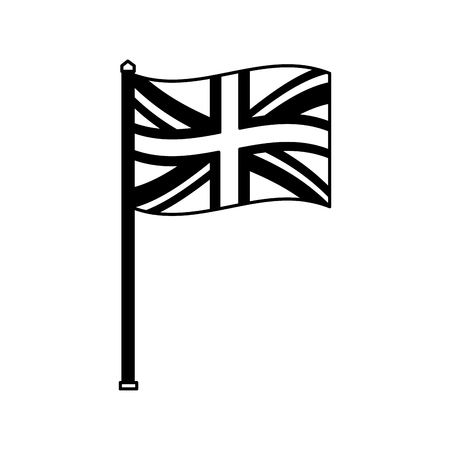 united kingdom flag in pole national symbol vector illustration black and white