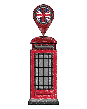 classic british telephone and pin location with flag great britain vector illustration design
