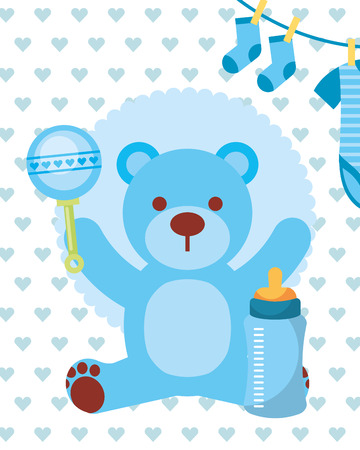blue toy bear rattle feeding bottle and clothes boy vector illustration Foto de archivo - 114982335