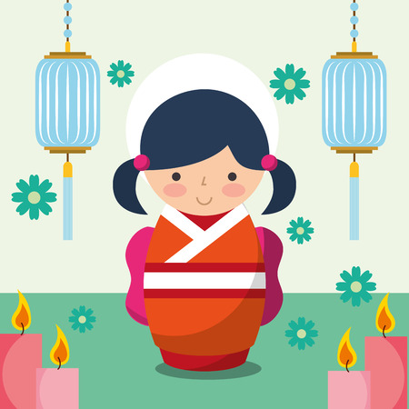 floral decoration chinese lanterns and japanese kokeshi doll in kimono vector illustration