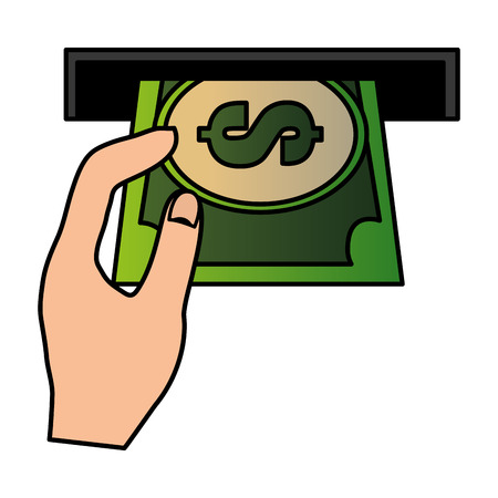 hole machine with bill dollar and hand vector illustration design 스톡 콘텐츠 - 114982339