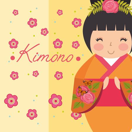 kokeshi japanese national doll in a fashionable kimono vector illustration