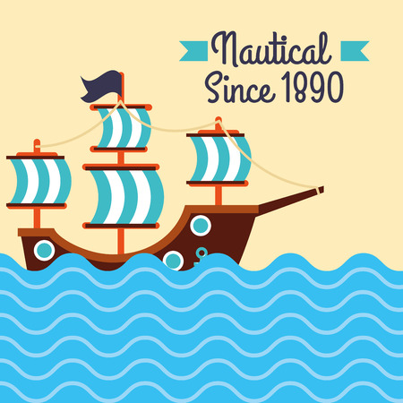 nautical maritime design pirate ship ocean sign vector illustration