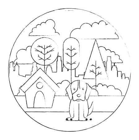 dog with wooden house in the park city vector illustration sketch