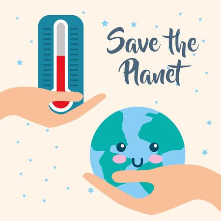 Enregistrer la planète et l'illustration vectorielle de l'heure de la terre chaude du thermomètre