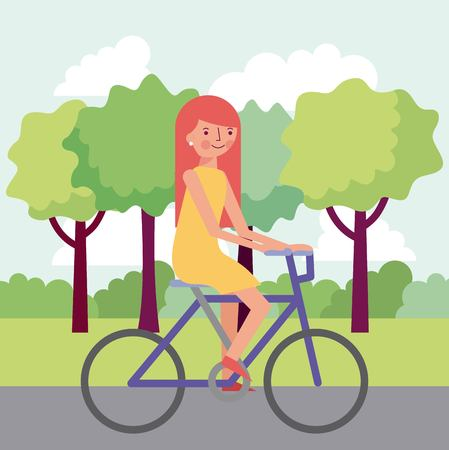 people park trees girl riding bicycle smiling happy hair red vector illustration Illustration