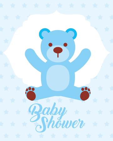 blue toy bear baby shower invitation card vector illustration