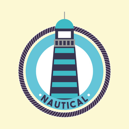 nautical maritime design sticker sign lighthouse blue vector illustration
