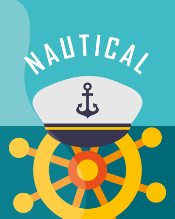 nautical maritime design helm with navy hat vector illustration