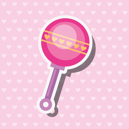 pink toy rattle hearts decoration vector illustration