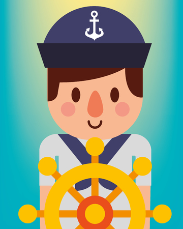 nautical maritime design degrade background cute sailor with helm vector illustration