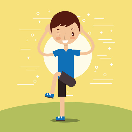 young boy training fitness stertching vector illustration Archivio Fotografico - 104694070