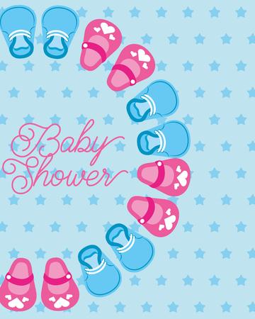 schattige kleine schoenen baby shower kaart stippen achtergrond vectorillustratie