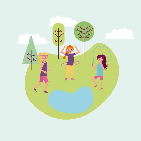 people park and city girl jumping rope woman playing with hula hoop vector illustration Illusztráció