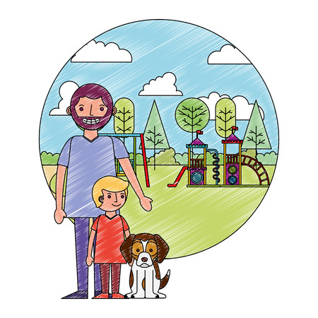 dad with her son and dog in the park playground vector illustration