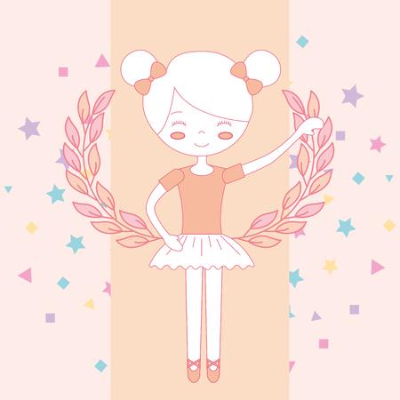 beautiful ballerina ballet character cartoon vector illustration 向量圖像