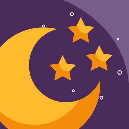Ilustración de vector de clima de dibujos animados de media luna y estrellas