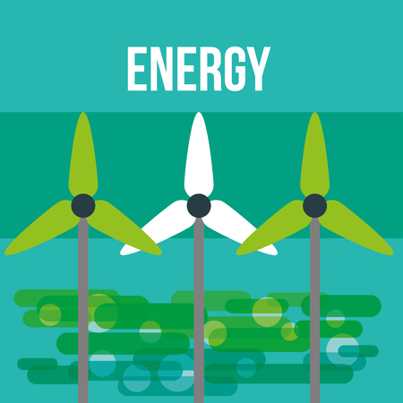 turbines wind energy ecology environmental vector illustration