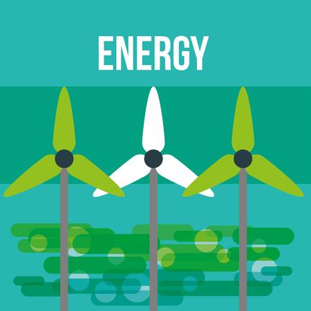 turbines wind energy ecology environmental vector illustration