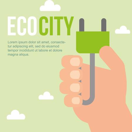 hand holding plug eco city sustainable vector illustration