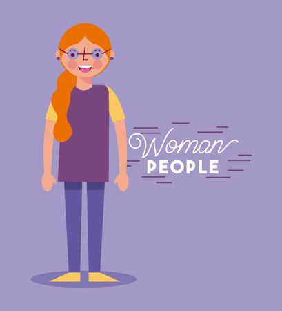 people woman character with glasses purple shirt smiling vector illustration Ilustração
