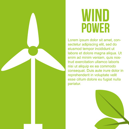 turbine wind power renewable energy vector illustration Banco de Imagens - 114968730