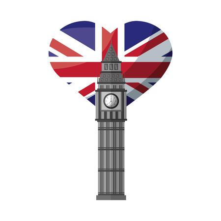 london big ben and heart with british flag vector illustration Иллюстрация
