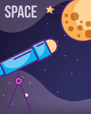 space galaxy cosmic card moon stars telescope explore astrology technology vector illustration  イラスト・ベクター素材
