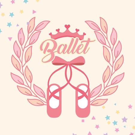 pink ballet pointe shoes emblem pink diadem stars vector illustration
