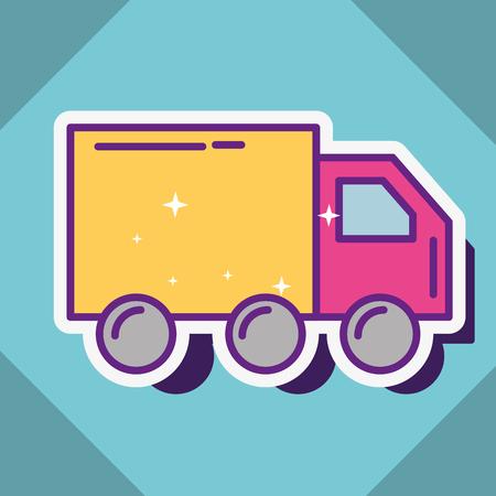 delivery truck transport  buy online vector illustration