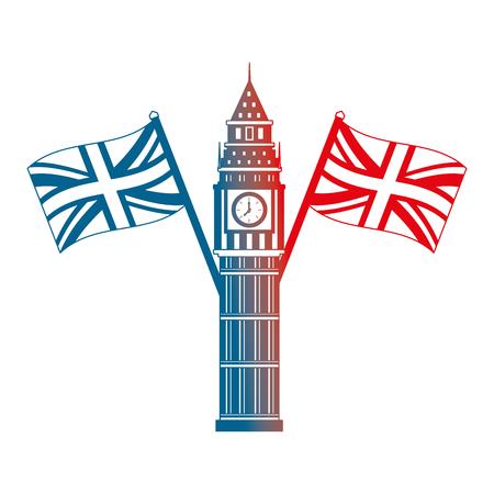 Torre del Big Ben de Londres y banderas cruzadas Inglaterra diseño degradado de ilustración vectorial Ilustración de vector