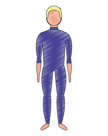 male figure character in swimsuit vector illustration