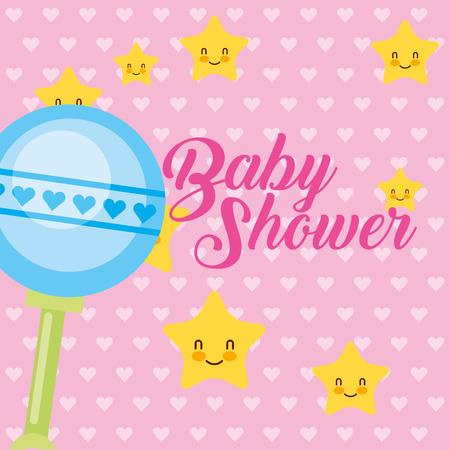 toy rattle stars cartoon baby shower card vector illustration Ilustrace