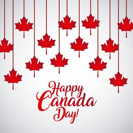 happy canada day card strips leave maples vector illustration