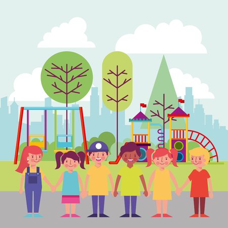 people park and city happy childrens smiling holding hands games behind vector illustration Archivio Fotografico - 114961037