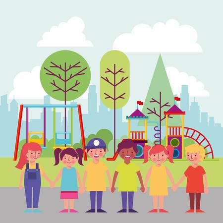 people park and city happy childrens smiling holding hands games behind vector illustration Standard-Bild - 114961037