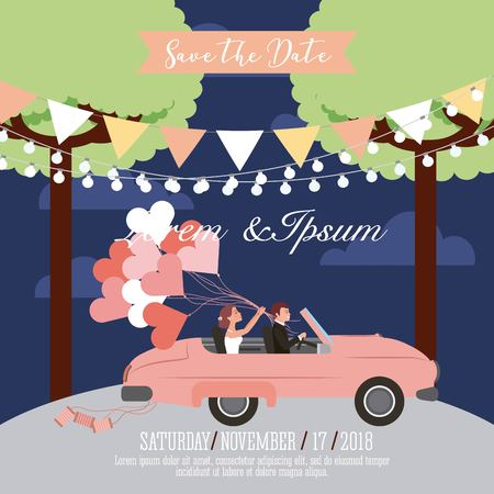 wedding couple in convertible car with balloons save the date card vector illustration Иллюстрация
