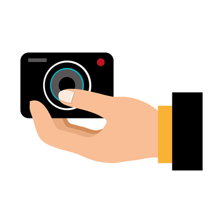 hand user with camera photographic vector illustration design