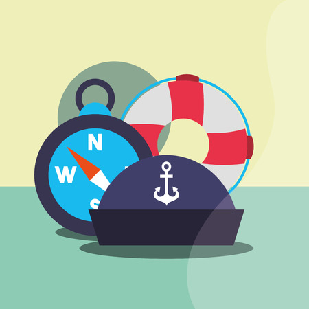 nautical maritime design compass with float rescue navy hat water vector illustration